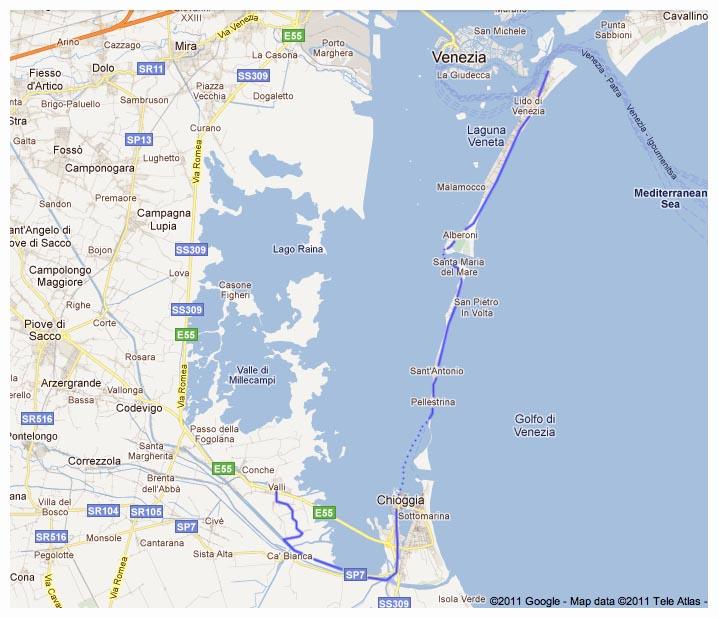 Cartina Laguna Di Venezia.Veneto In Bici Laguna Veneta Ciclabile Di Pellestrina E Lido Di Venezia